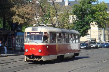 Electric tram near Kontraktova Square